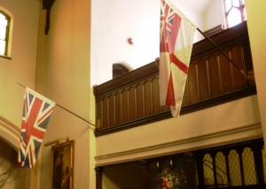 Unit Colours Hanging in St. Peter's Church, 705 Main Street East, Hamilton.